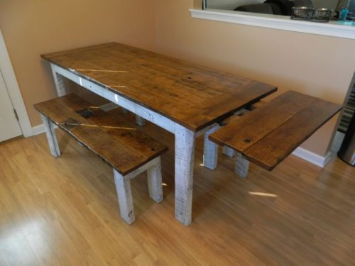 Distressed Farm Table and Bench2