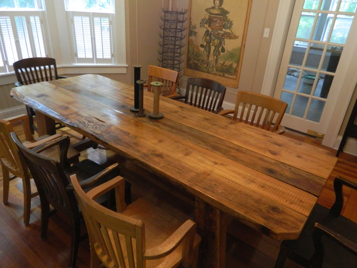 Reclaimed Farm Table Lake Ariel PA. Custom Reclaimed Wood Furniture   RustiK Rehab Design  LLC